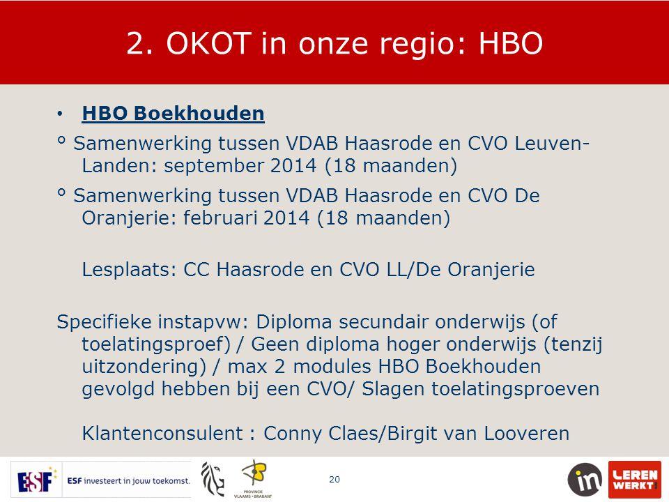 2. OKOT in onze regio: HBO HBO Boekhouden