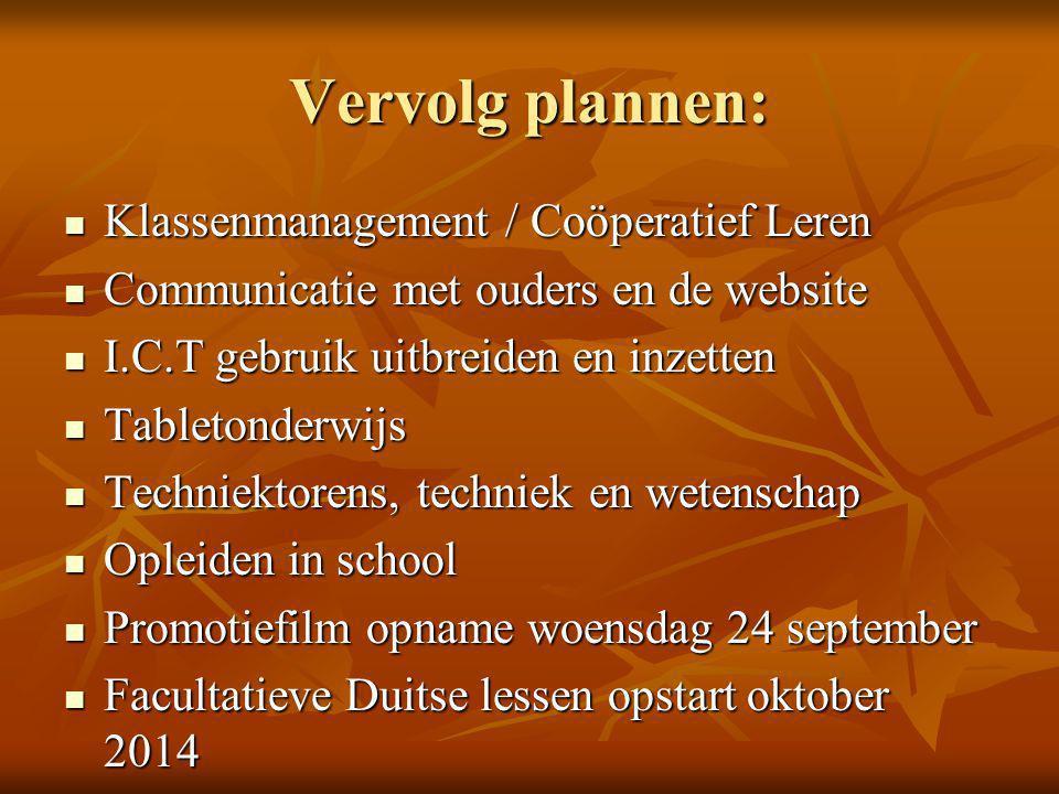 Vervolg plannen: Klassenmanagement / Coöperatief Leren