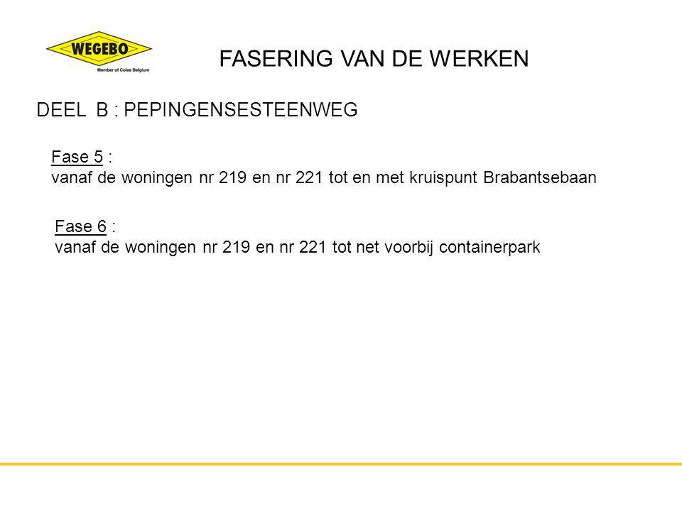 FASERING VAN DE WERKEN DEEL B : PEPINGENSESTEENWEG Fase 5 :