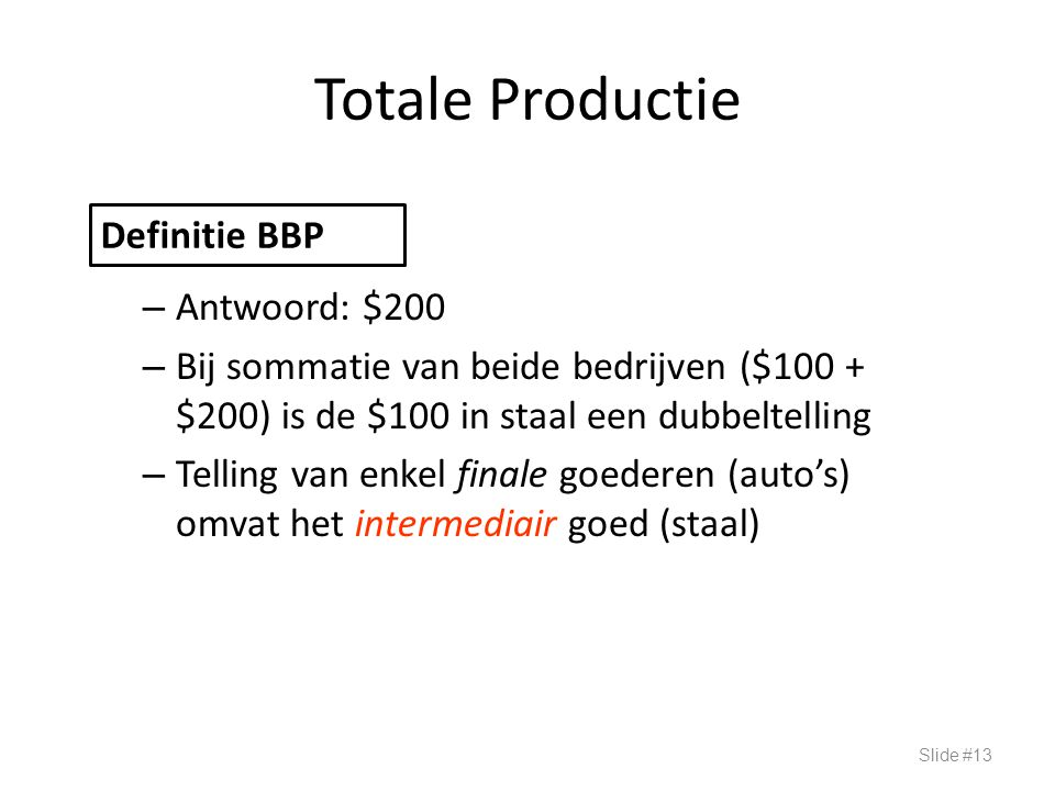 Totale Productie Definitie BBP Antwoord: $200