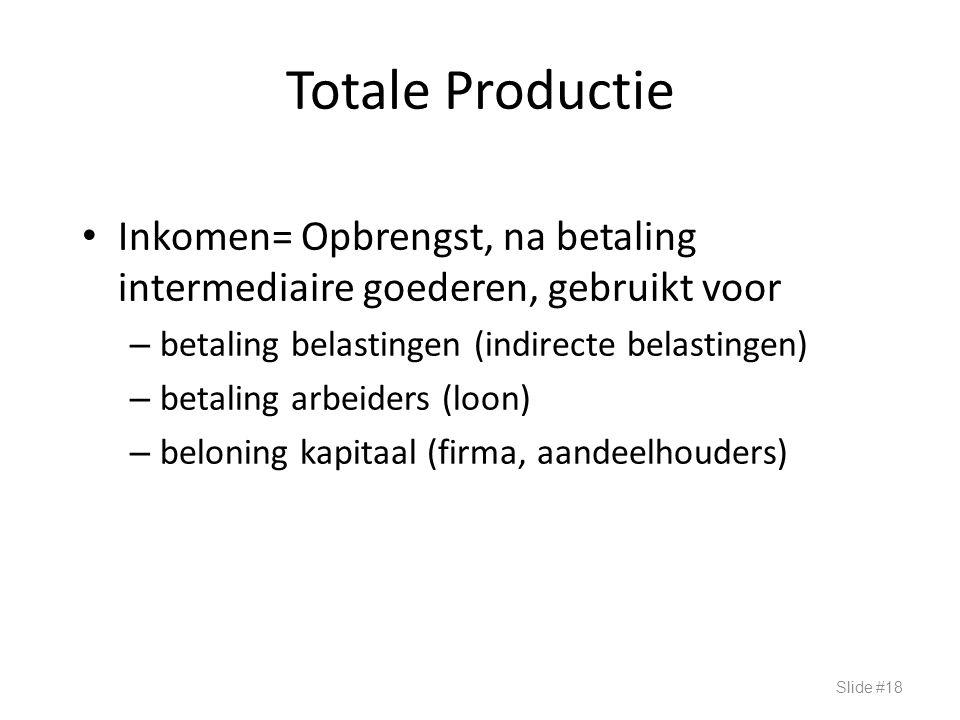 Totale Productie Inkomen= Opbrengst, na betaling intermediaire goederen, gebruikt voor. betaling belastingen (indirecte belastingen)