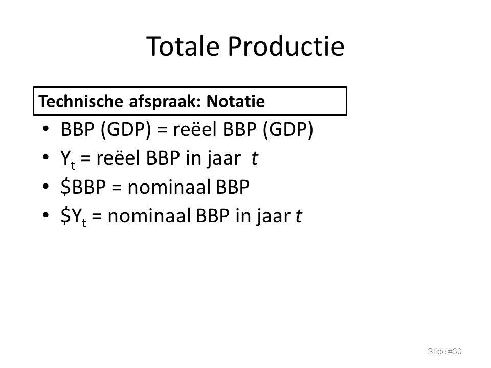 Totale Productie BBP (GDP) = reëel BBP (GDP) Yt = reëel BBP in jaar t