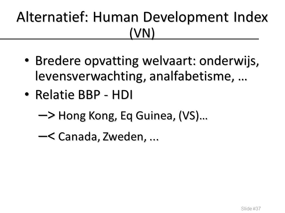 Alternatief: Human Development Index (VN)