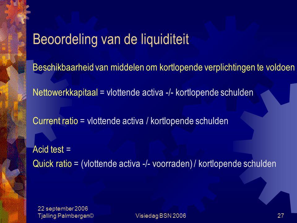 Beoordeling van de liquiditeit