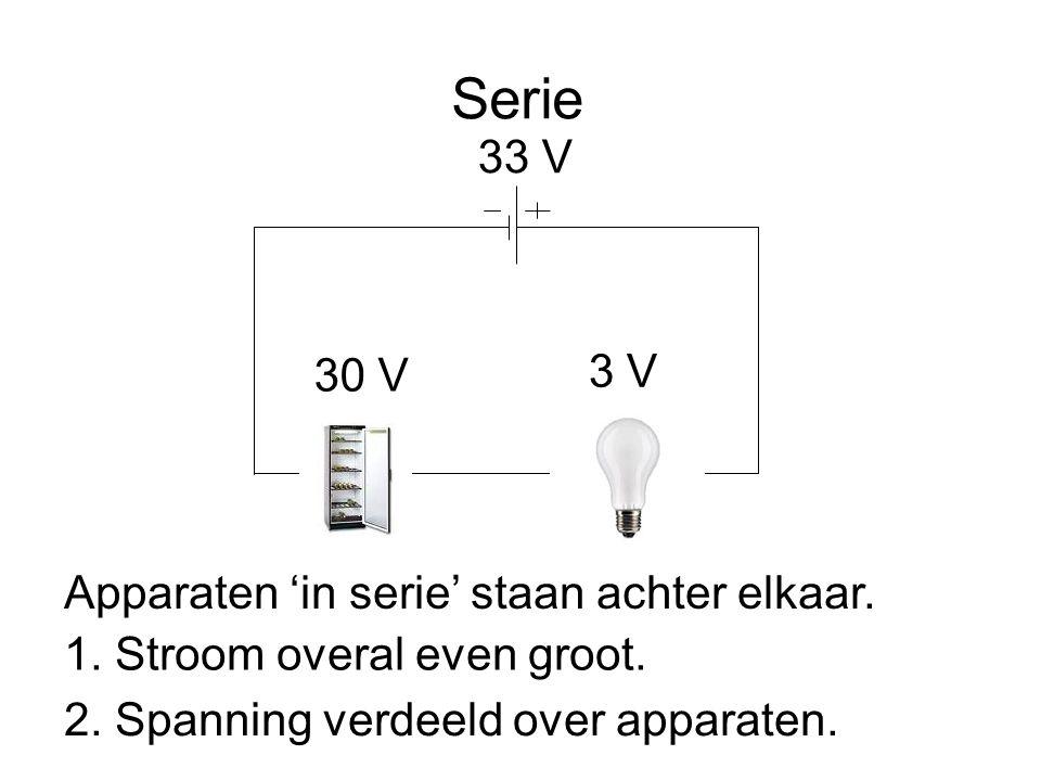 Serie 33 V 3 V 30 V Apparaten 'in serie' staan achter elkaar.