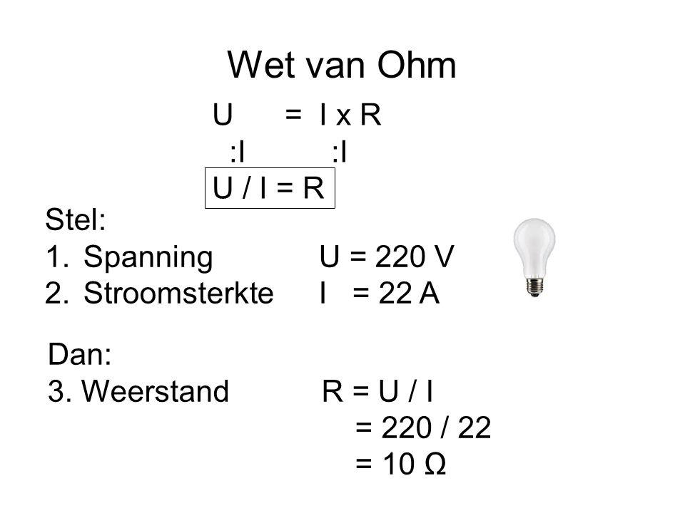 Wet van Ohm U = I x R :I :I U / I = R Stel: Spanning U = 220 V