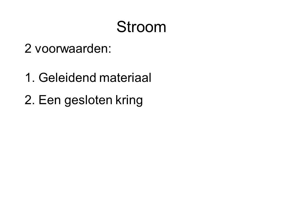 Stroom 2 voorwaarden: 1. Geleidend materiaal 2. Een gesloten kring