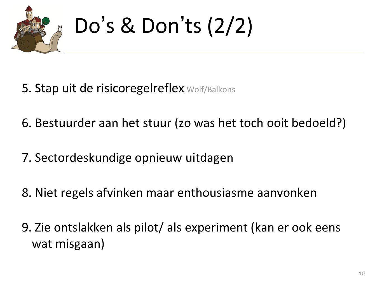 Do's & Don'ts (2/2) Stap uit de risicoregelreflex Wolf/Balkons