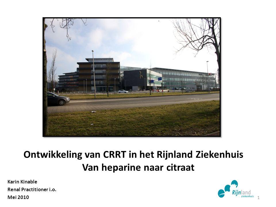 Ontwikkeling van CRRT in het Rijnland Ziekenhuis Van heparine naar citraat