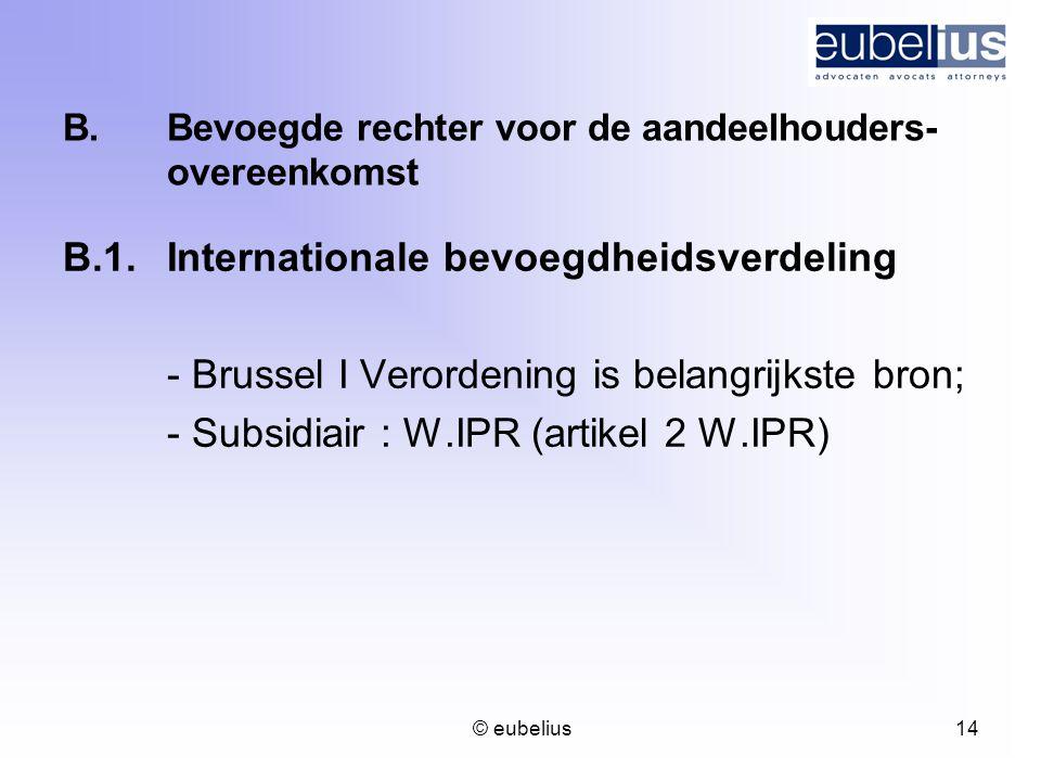 B. Bevoegde rechter voor de aandeelhouders- overeenkomst