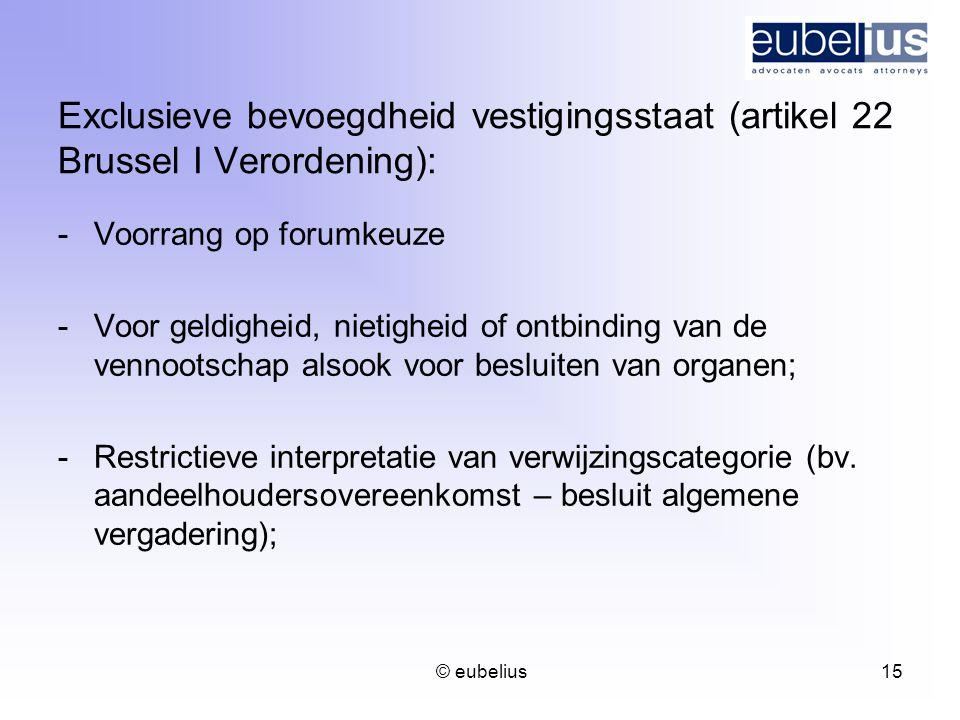 Exclusieve bevoegdheid vestigingsstaat (artikel 22 Brussel I Verordening):