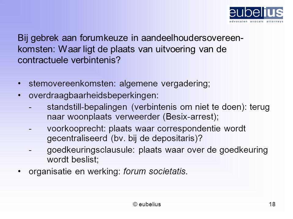 Bij gebrek aan forumkeuze in aandeelhoudersovereen-komsten: Waar ligt de plaats van uitvoering van de contractuele verbintenis