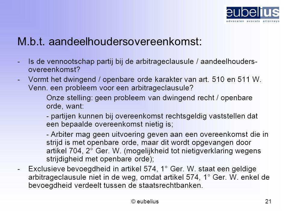 M.b.t. aandeelhoudersovereenkomst: