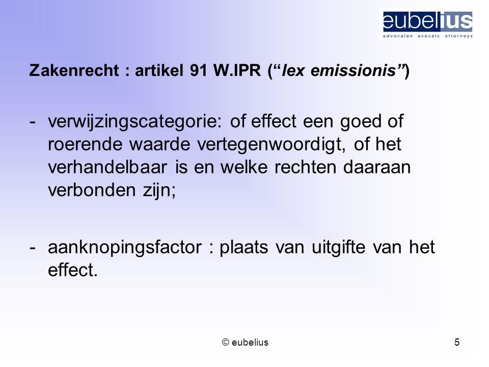 Zakenrecht : artikel 91 W.IPR ( lex emissionis )