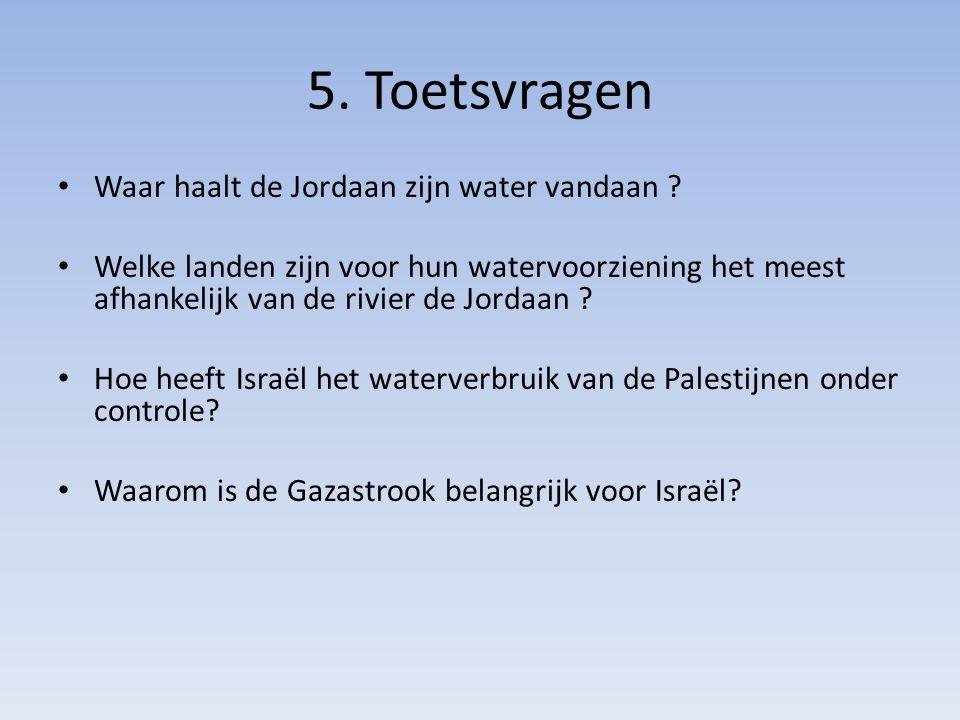 5. Toetsvragen Waar haalt de Jordaan zijn water vandaan