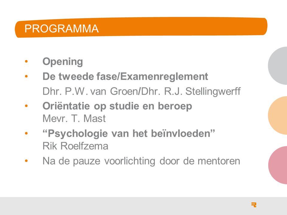 Programma Opening De tweede fase/Examenreglement