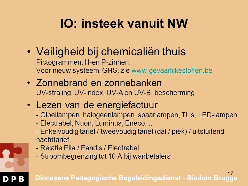 IO: insteek vanuit NW Veiligheid bij chemicaliën thuis Pictogrammen, H-en P-zinnen. Voor nieuw systeem, GHS: zie www.gevaarlijkestoffen.be.