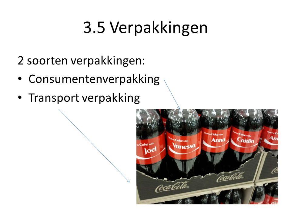 3.5 Verpakkingen 2 soorten verpakkingen: Consumentenverpakking