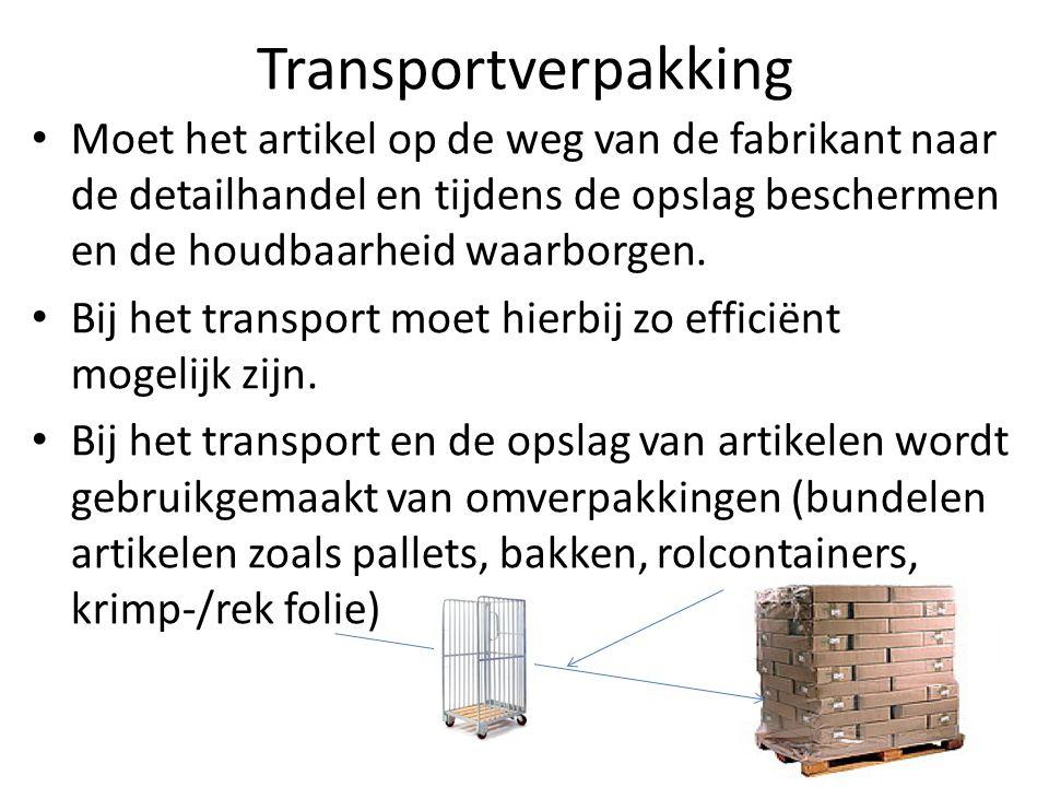 Transportverpakking Moet het artikel op de weg van de fabrikant naar de detailhandel en tijdens de opslag beschermen en de houdbaarheid waarborgen.