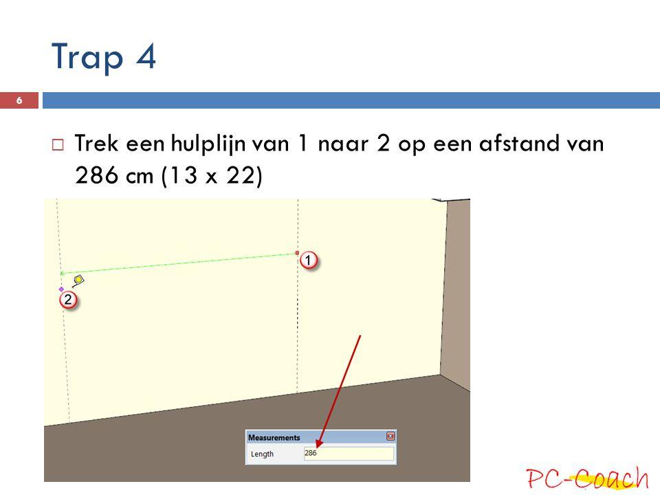 Trap 4 Trek een hulplijn van 1 naar 2 op een afstand van 286 cm (13 x 22)