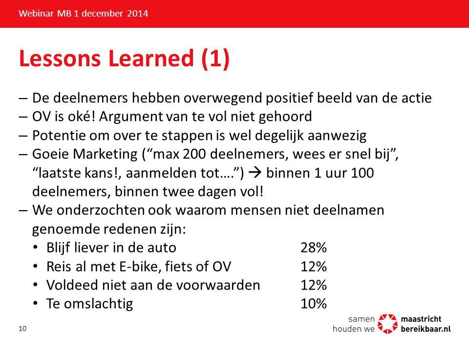 Webinar MB 1 december 2014 Lessons Learned (1) De deelnemers hebben overwegend positief beeld van de actie.
