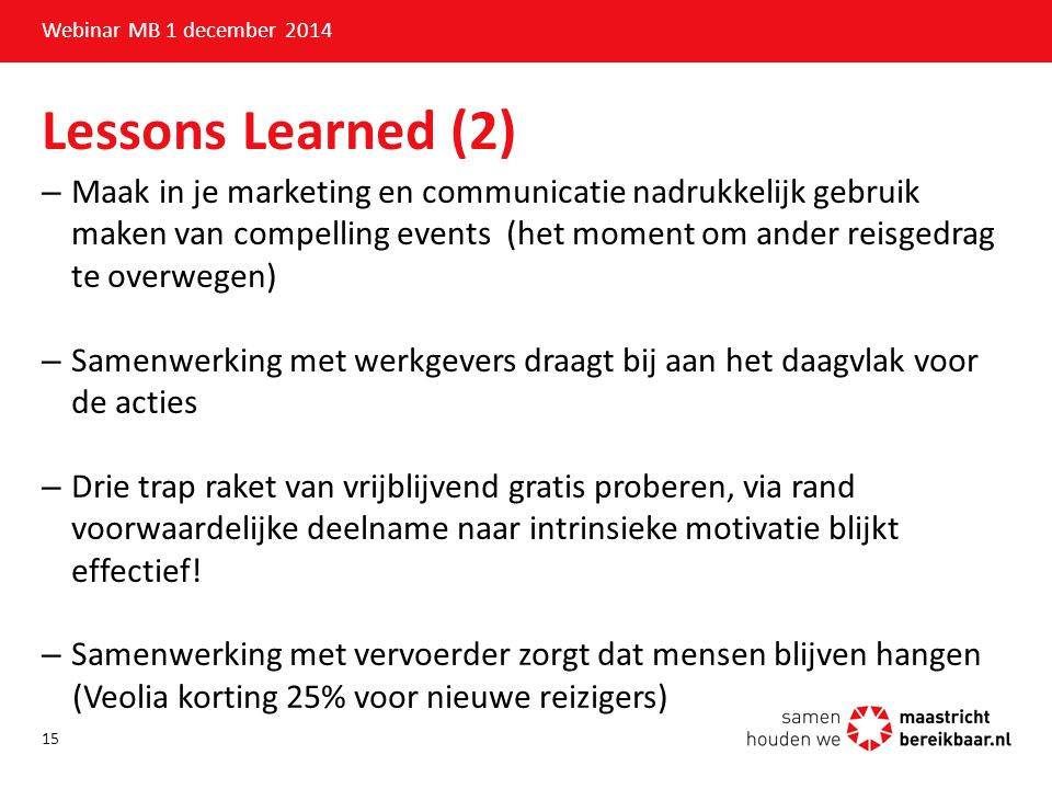 Webinar MB 1 december 2014 Lessons Learned (2)
