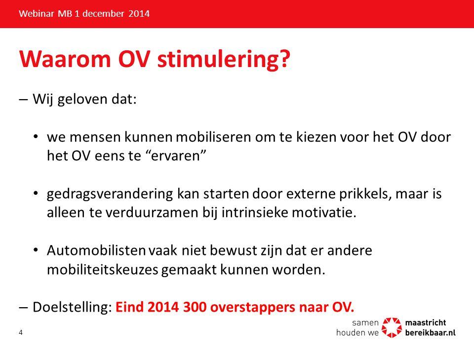 Waarom OV stimulering Wij geloven dat: