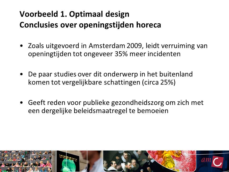 Voorbeeld 1. Optimaal design Conclusies over openingstijden horeca