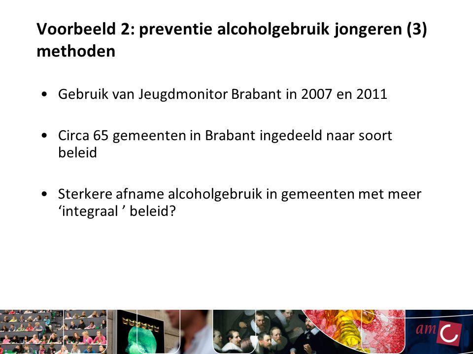 Voorbeeld 2: preventie alcoholgebruik jongeren (3) methoden