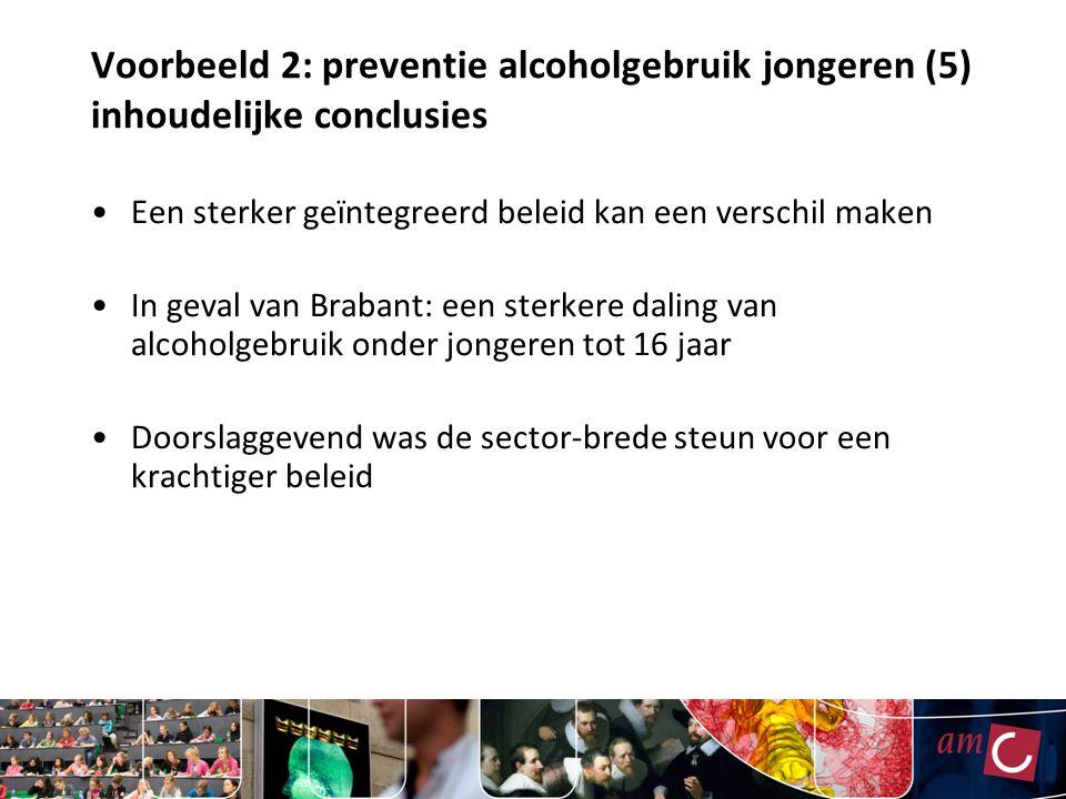 Voorbeeld 2: preventie alcoholgebruik jongeren (5) inhoudelijke conclusies