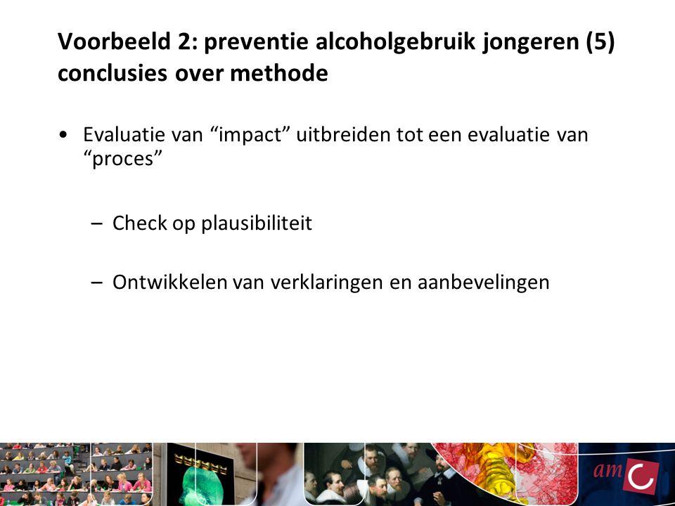 Voorbeeld 2: preventie alcoholgebruik jongeren (5) conclusies over methode