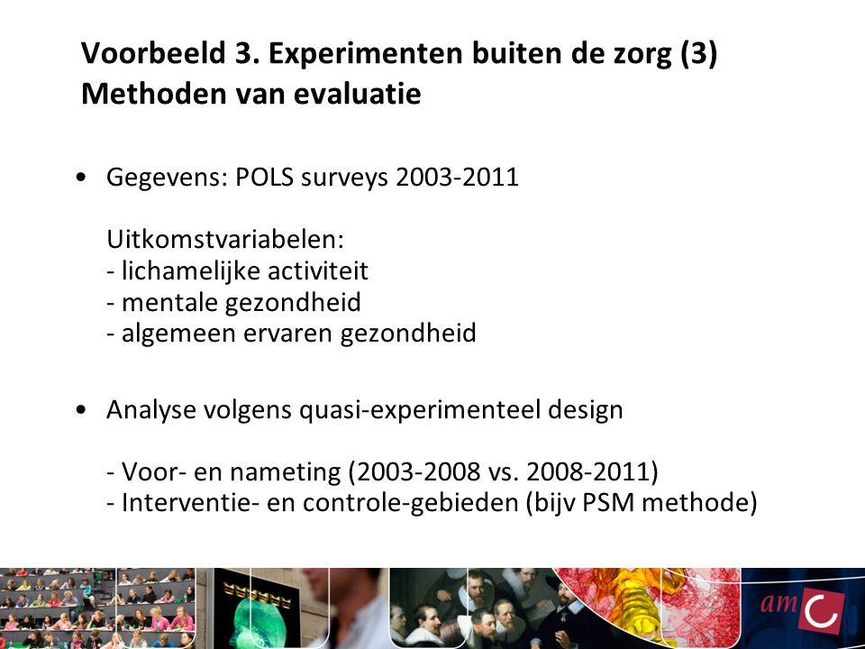 Voorbeeld 3. Experimenten buiten de zorg (3) Methoden van evaluatie
