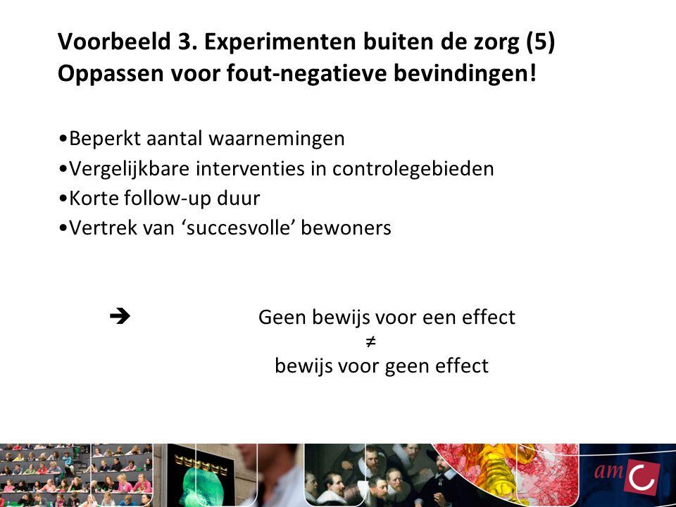 Voorbeeld 3. Experimenten buiten de zorg (5) Oppassen voor fout-negatieve bevindingen!