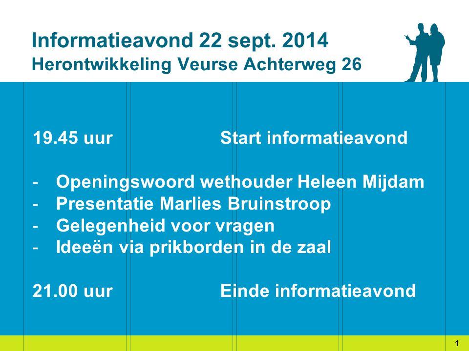 Informatieavond 22 sept. 2014 Herontwikkeling Veurse Achterweg 26