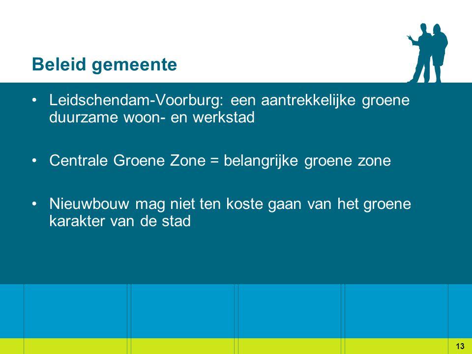 Beleid gemeente Leidschendam-Voorburg: een aantrekkelijke groene duurzame woon- en werkstad. Centrale Groene Zone = belangrijke groene zone.