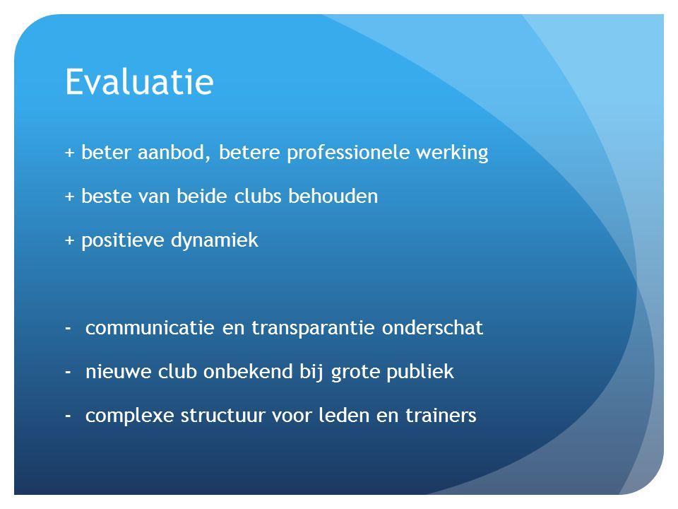 Evaluatie + beter aanbod, betere professionele werking