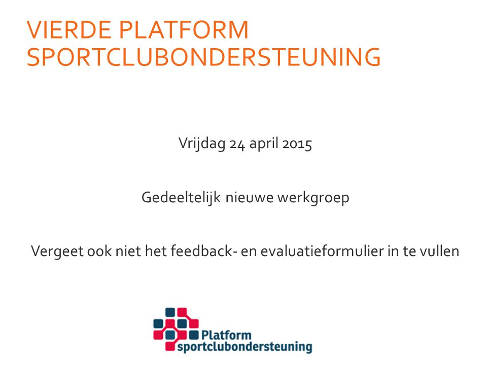 Vierde platform SPortclubondersteuning