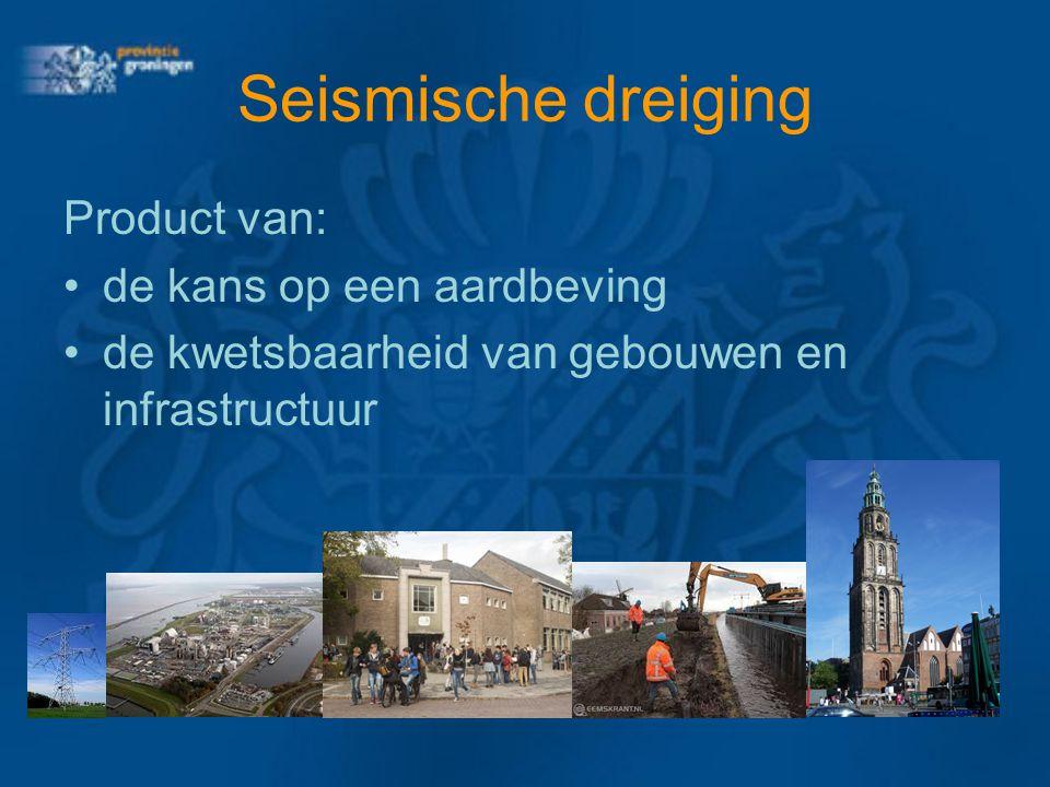 Seismische dreiging Product van: de kans op een aardbeving