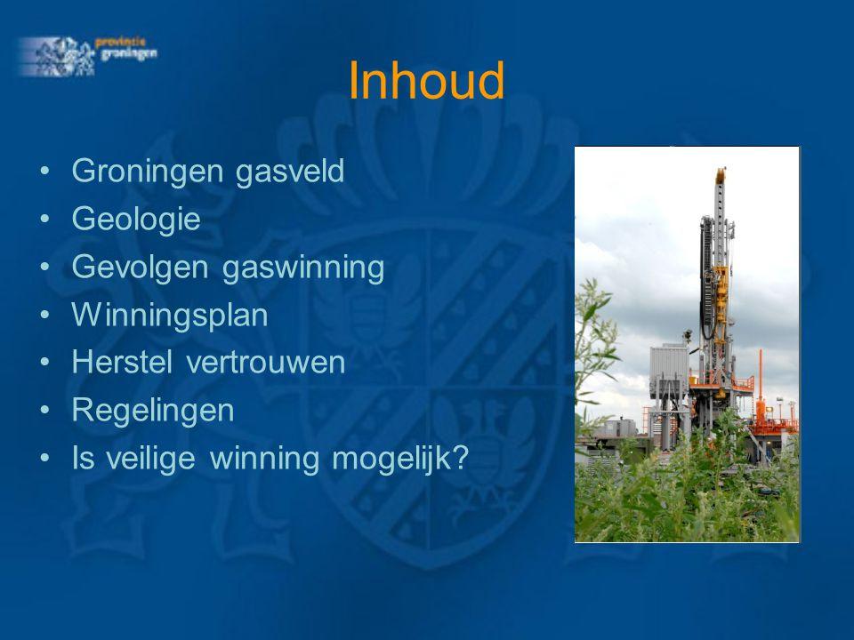 Inhoud Groningen gasveld Geologie Gevolgen gaswinning Winningsplan