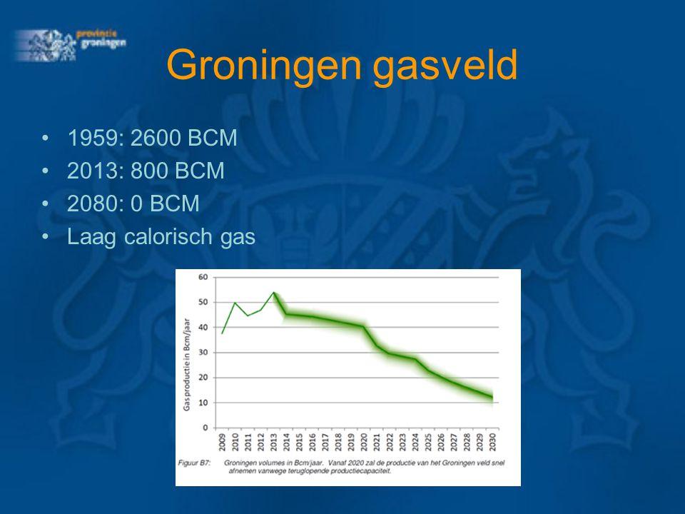 Groningen gasveld 1959: 2600 BCM 2013: 800 BCM 2080: 0 BCM