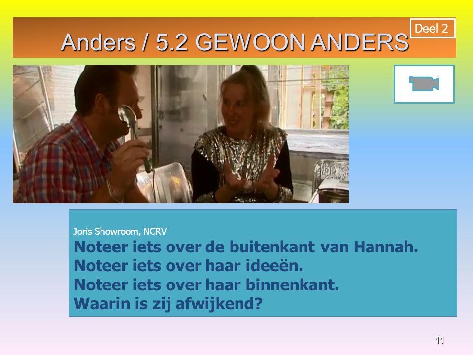 Anders / 5.2 GEWOON ANDERS Deel 2. 2. Joris Showroom, NCRV. Noteer iets over de buitenkant van Hannah.