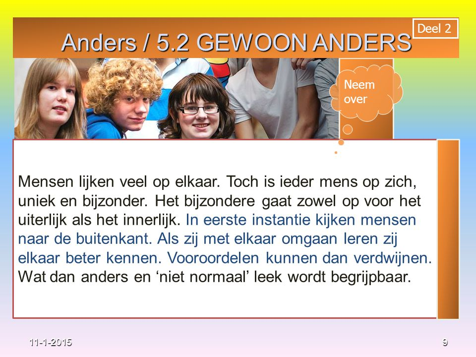 Anders / 5.2 GEWOON ANDERS Deel 2. Neem over.