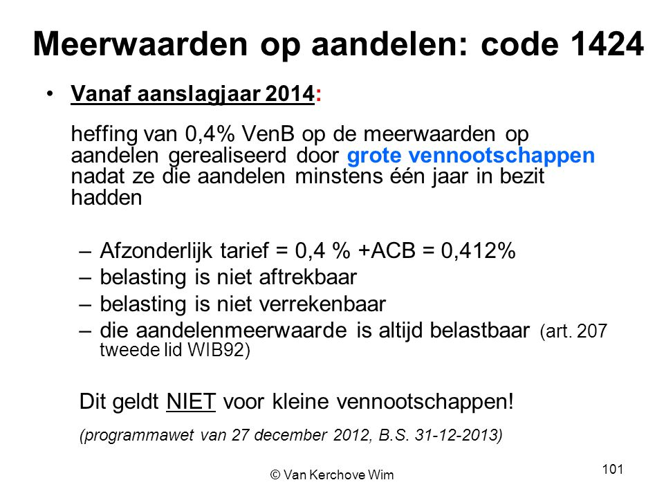 Meerwaarden op aandelen: code 1424