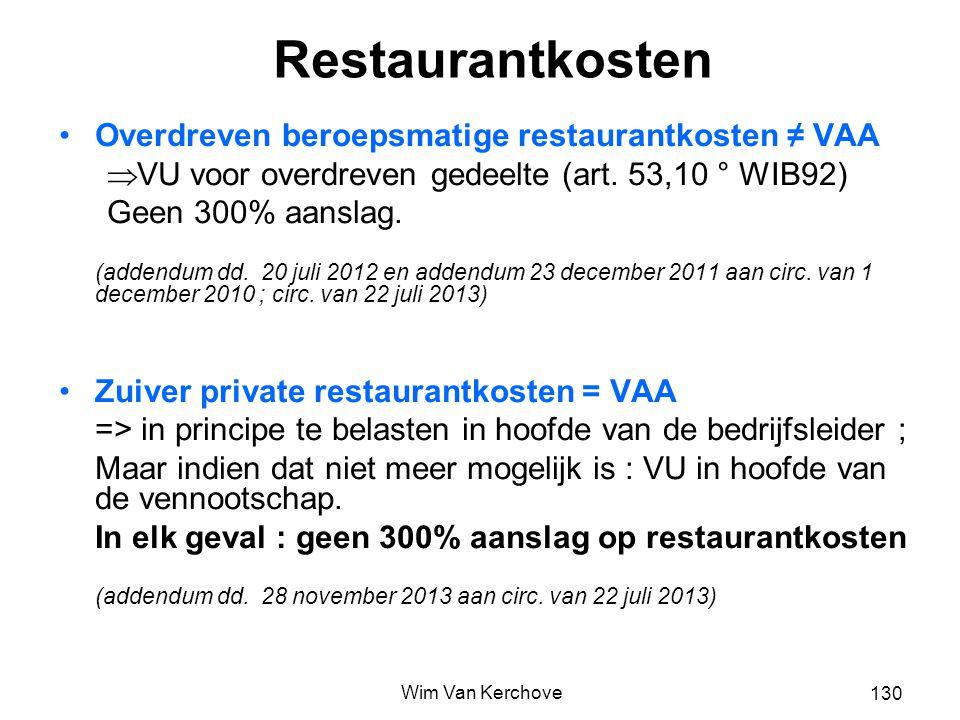 Restaurantkosten Overdreven beroepsmatige restaurantkosten ≠ VAA