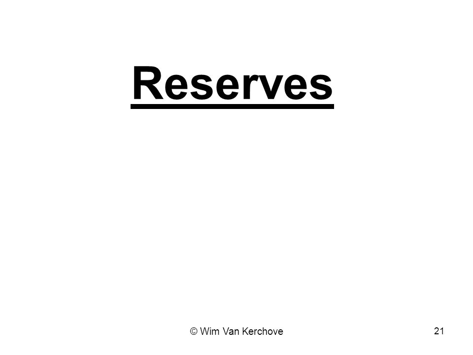 Reserves © Wim Van Kerchove