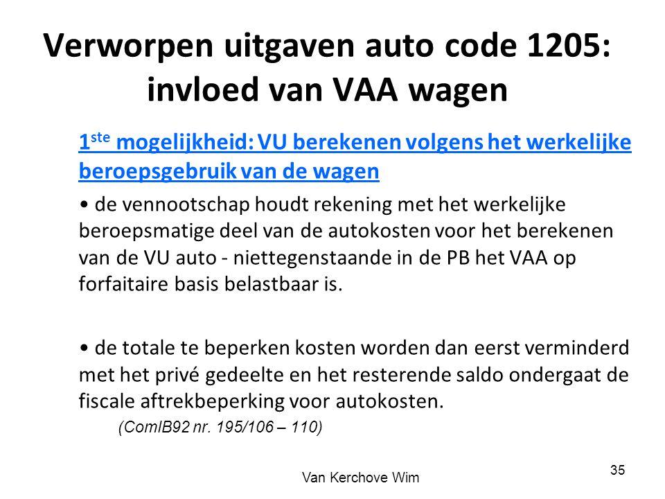 Verworpen uitgaven auto code 1205: invloed van VAA wagen