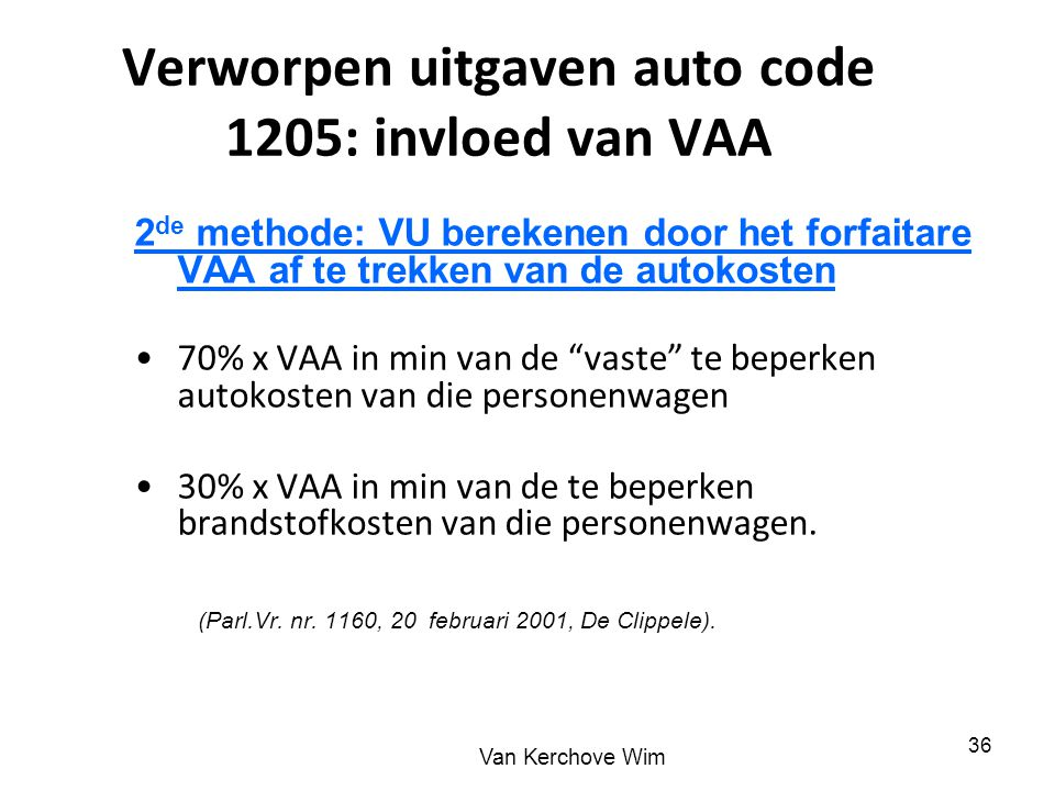 Verworpen uitgaven auto code 1205: invloed van VAA
