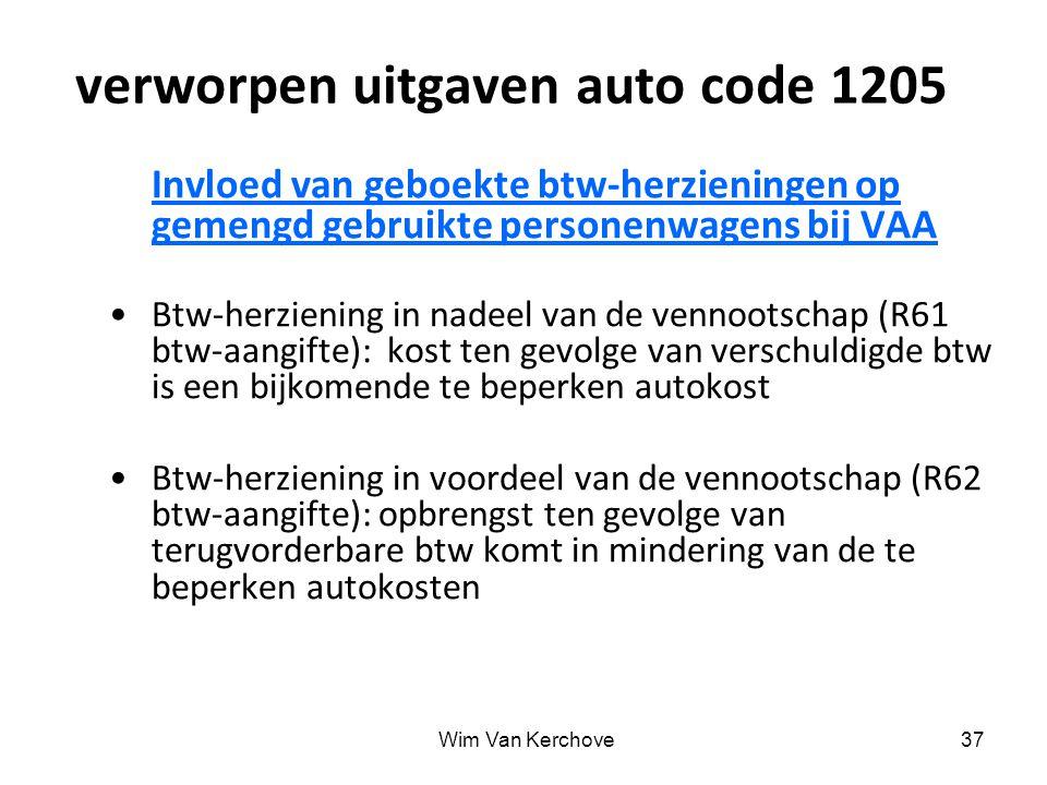 verworpen uitgaven auto code 1205