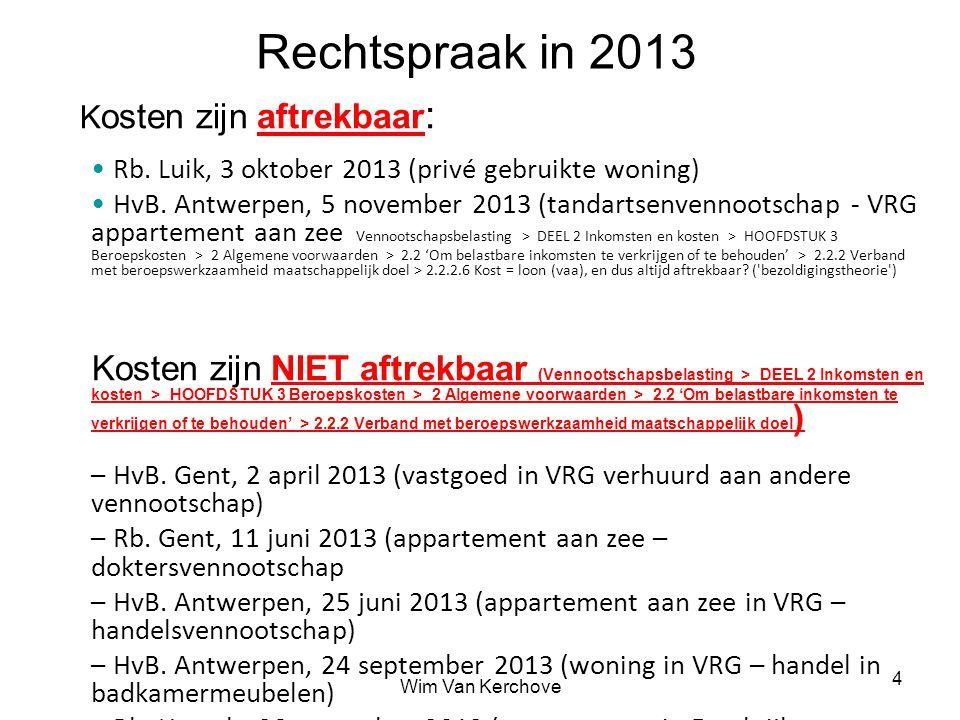 Rechtspraak in 2013 Kosten zijn aftrekbaar: Rb. Luik, 3 oktober 2013 (privé gebruikte woning)