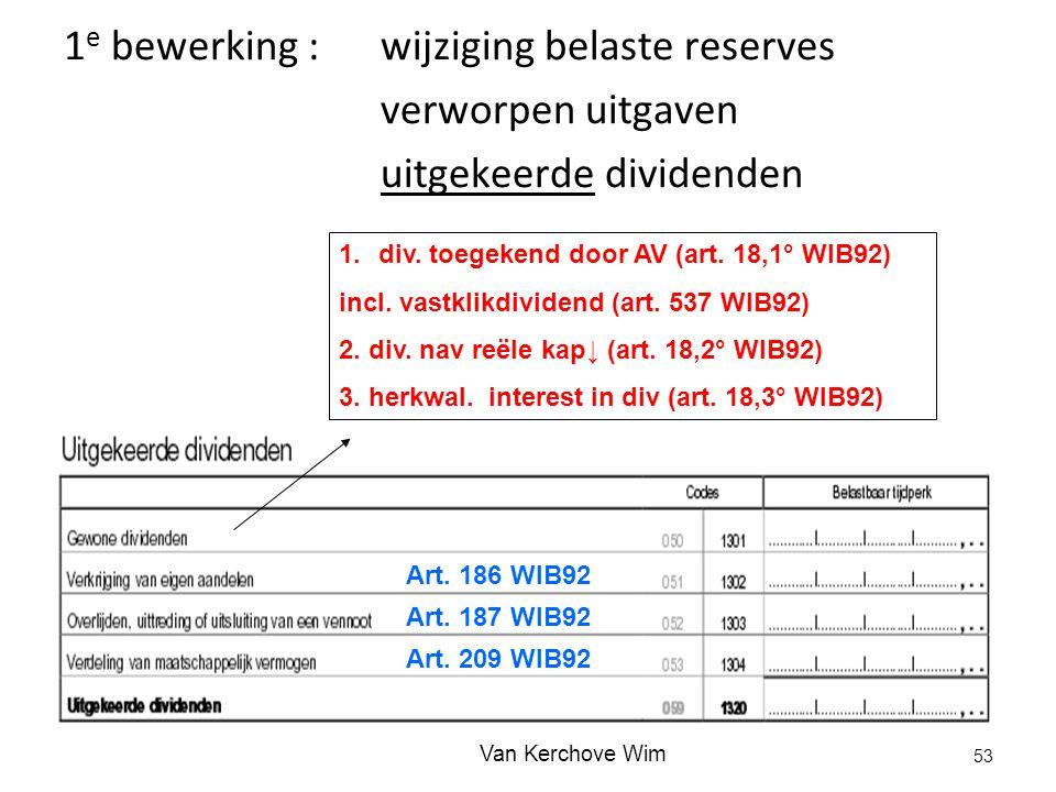 1e bewerking : wijziging belaste reserves verworpen uitgaven